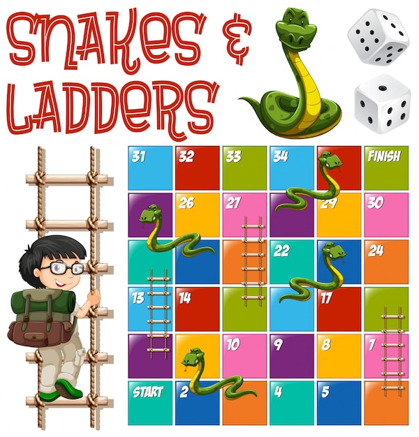 Boardgame Template With Ladders And Snakes Illustration Premium Vector