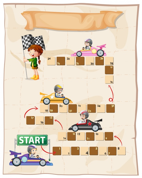Boardgame template with racing cars Free Vector