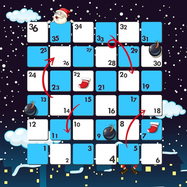 Boardgame Template With Santa At Night
