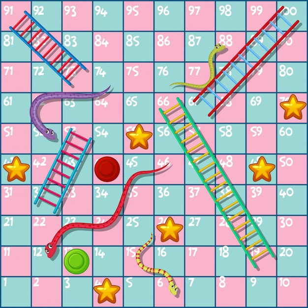 Boardgame   with snakes and ladders Premium Vector
