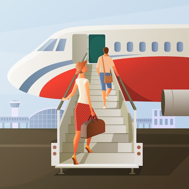 Boarding in airplane composition Free Vector