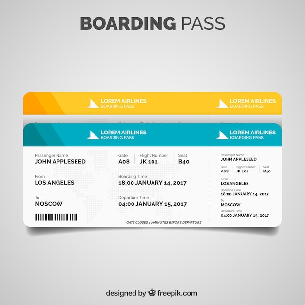Boarding Pass Template In Flat Design Vector | Free Download