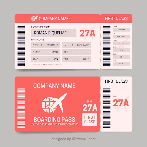 Boarding Pass Template In Red Tones Vector | Free Download
