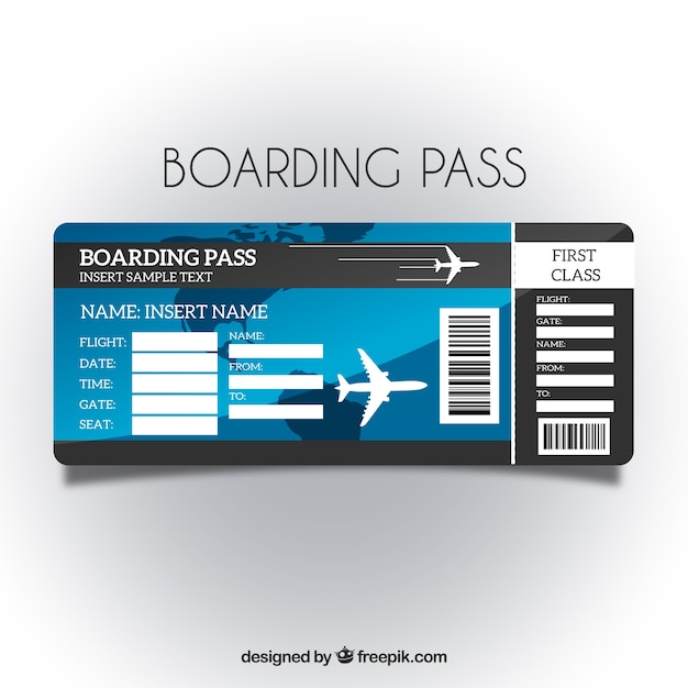 Boarding pass template with blue background Vector | Free ...
