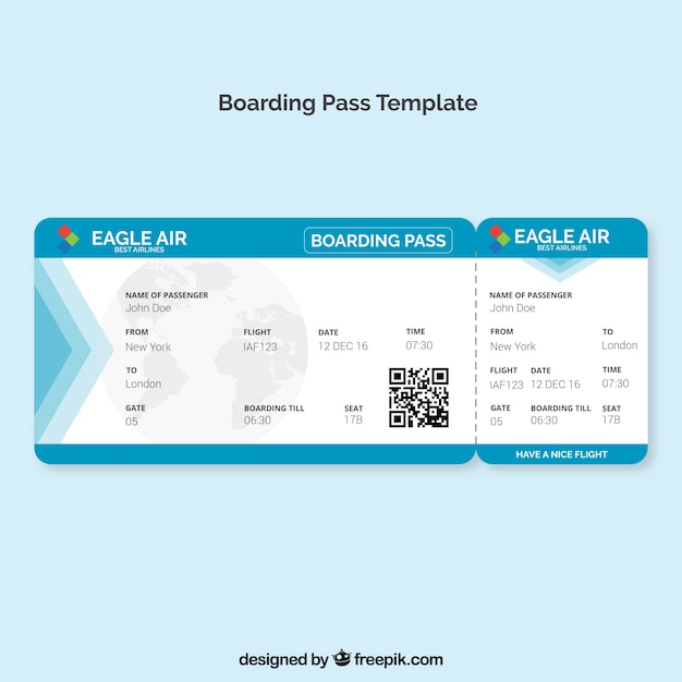 Boarding Pass Template With Blue Details Vector | Free Download