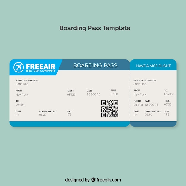 Boarding pass template with blue shapes Vector | Free Download