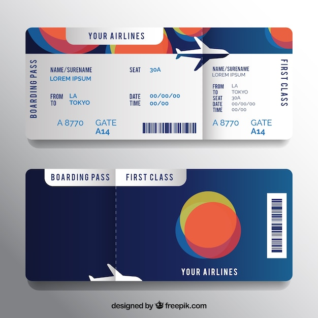 Boarding pass template with colorful circular shapes ...