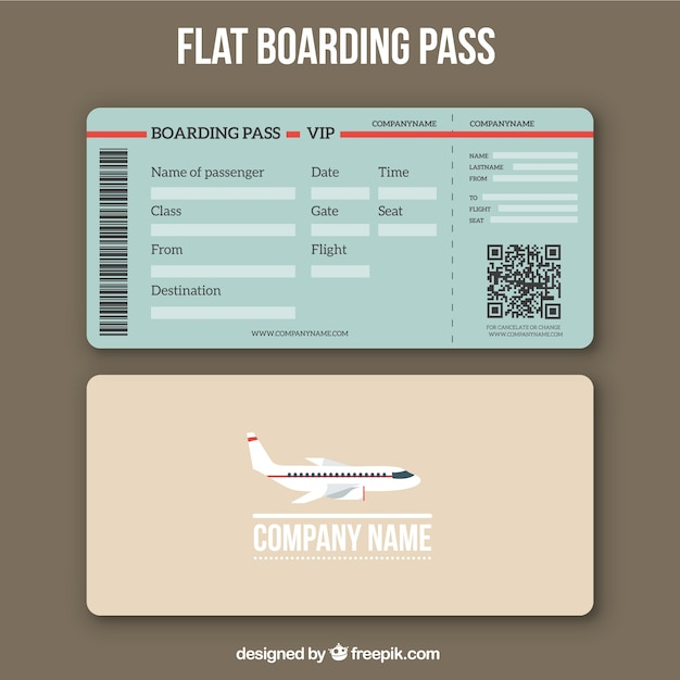 Boarding Pass Template With Qr Code In Flat Design Free Vector  Free Pass Template