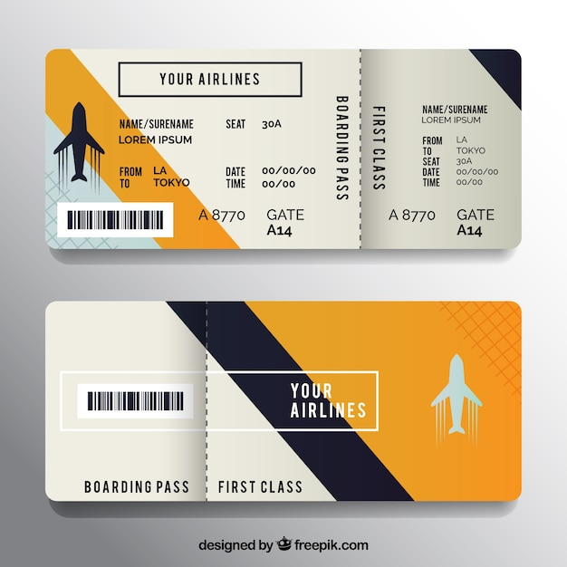 Boarding Pass With Dark Blue And Orange Details Vector Free Download