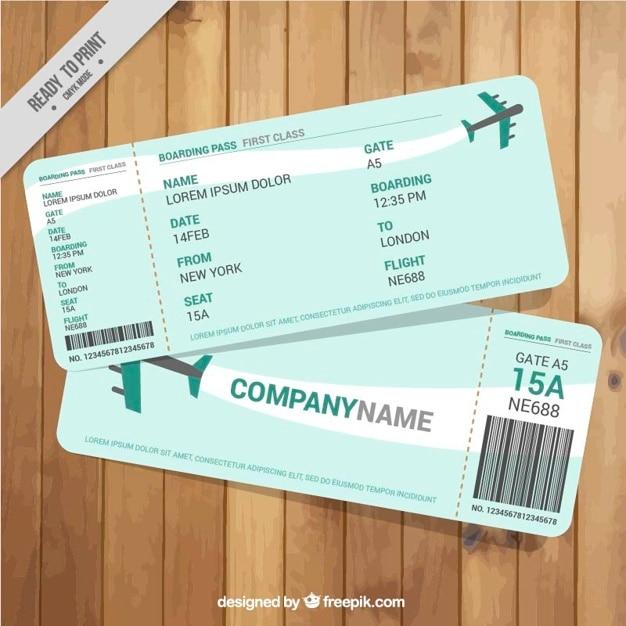 Download Vector Boarding Pass With Green Details Vectorpicker