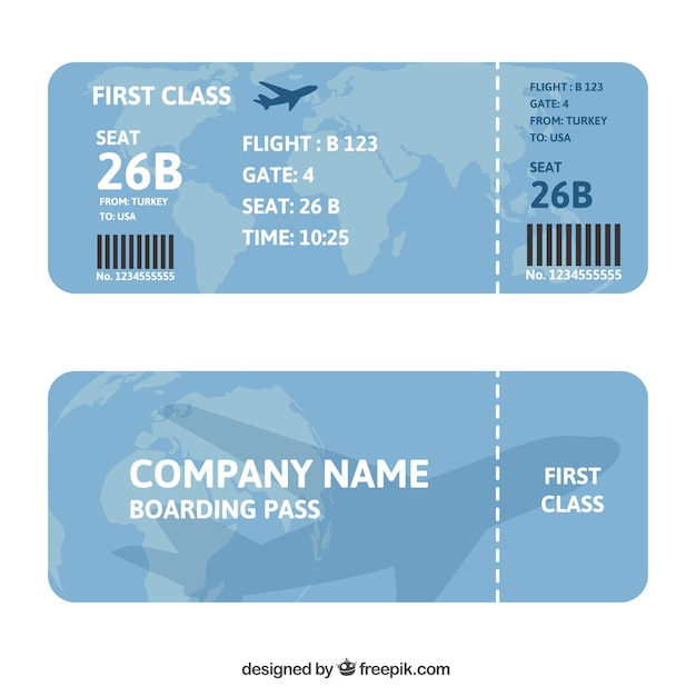 Boarding Pass With Map And Airplane Background Vector Free Download