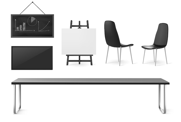 Boardroom furniture and stuff, conference room for business meetings, training and presentation, company office interior table, chairs, screen and board isolated on white background, 3d set Free Vector