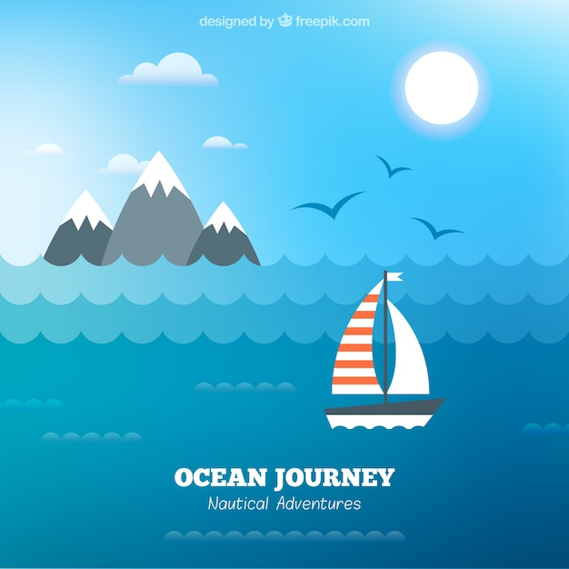 Boat background in the ocean in flat\ design