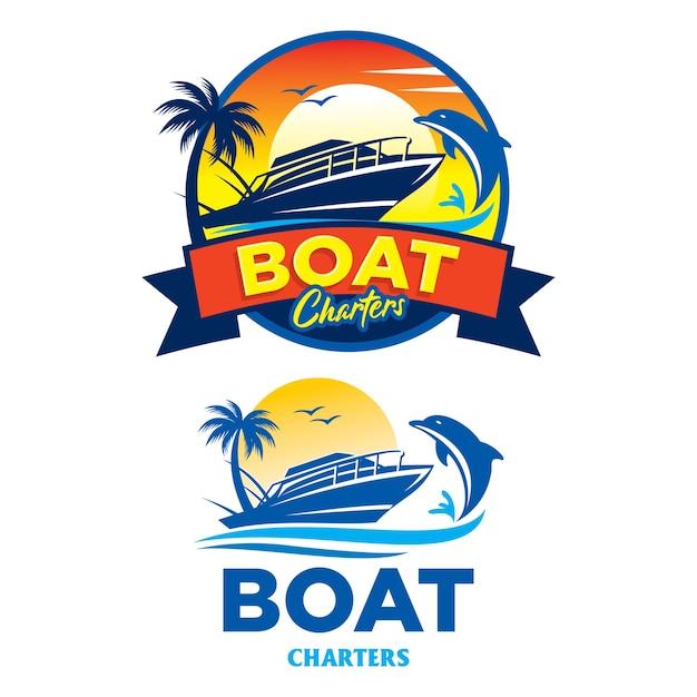 ボートチャーターのロゴ、旅行、ホリデーバッジ Premiumベクター