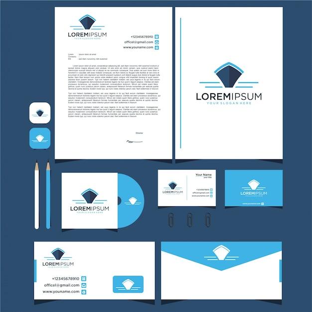 Шаблон логотипа дизайн лодки и канцелярские товары Premium векторы