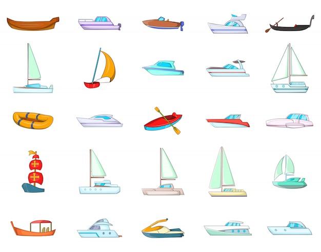 Boat element set. cartoon set of boat vector elements Premium Vector