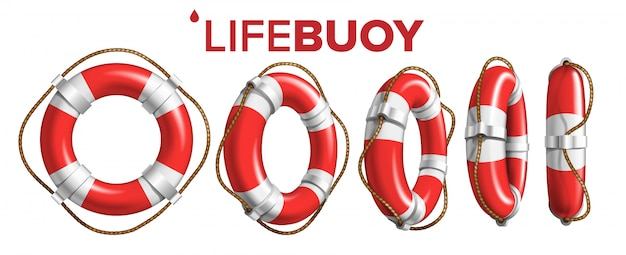 Boat lifebuoy ring in different view Premium Vector