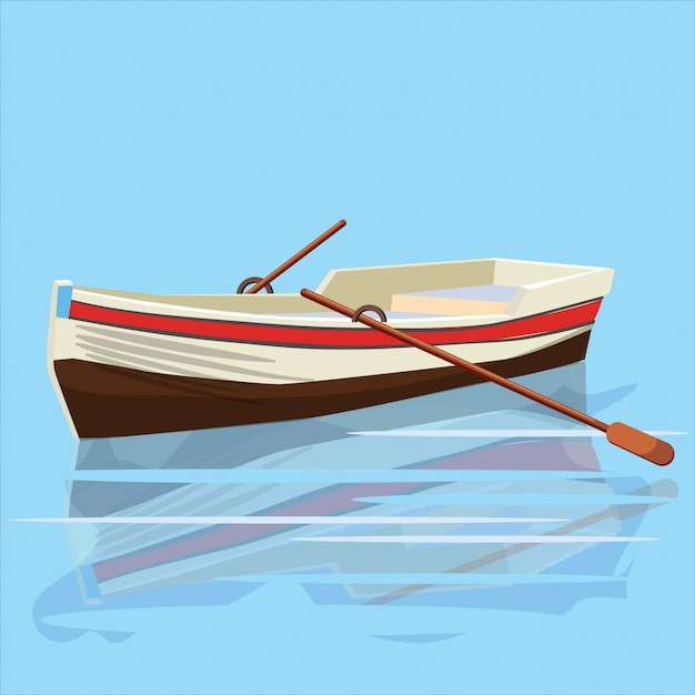 Boat, paddle, banner, vector illustration, cartoon style, isolated Premium Vector