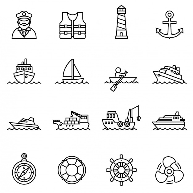 Boat and ship icon set with white background. Premium Vector
