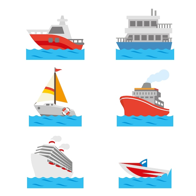 Boat and ship vehicle water transportation vector Premium Vector