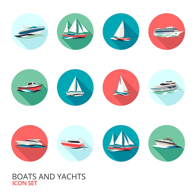 Boats icons set Free Vector