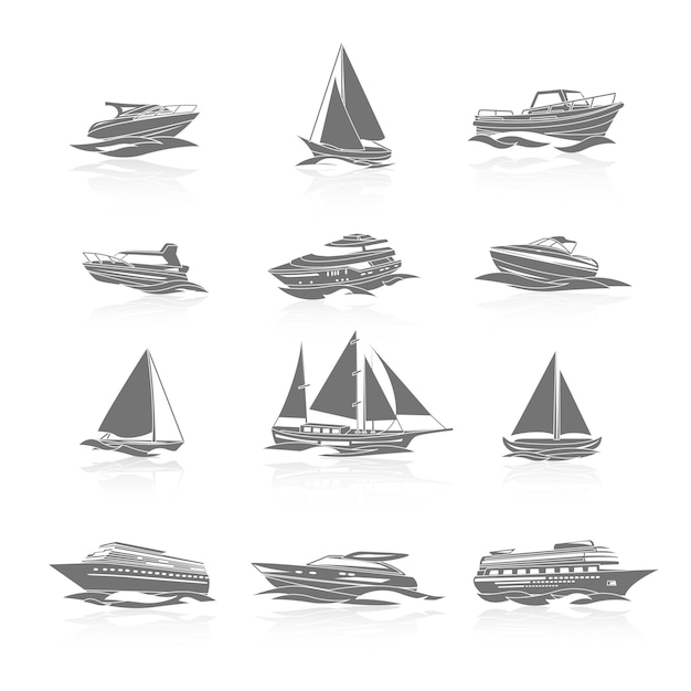 Boats icons set Premium Vector