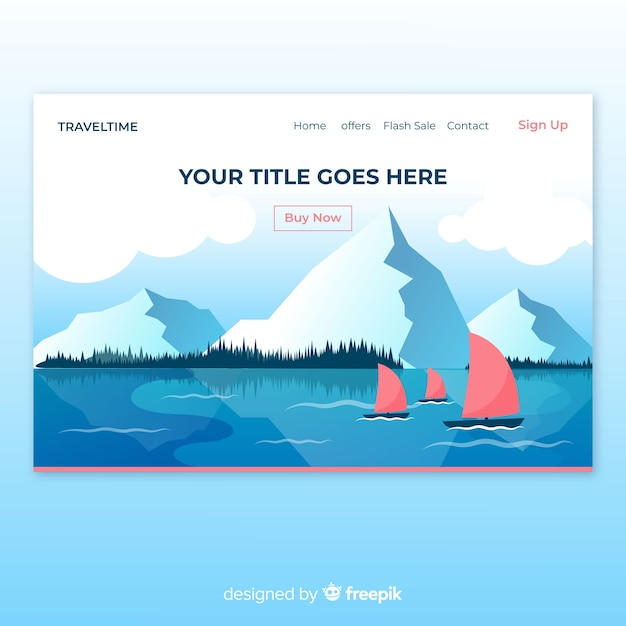 Boats in a lake landing page Free Vector