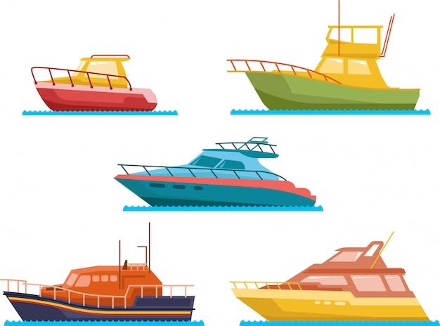 Boats and yacht flat vector set Premium Vector