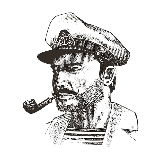 Boatswain with pipe. sea captain, marine old sailor or bluejacket, seaman with beard or men seafarer. travel by ship or boat. engraved hand drawn in old boho sketch. Premium Vector