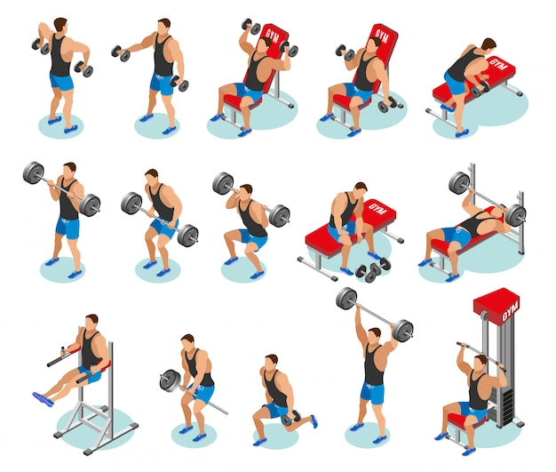 Body building isometric icons Free Vector