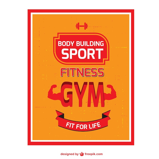 Body building vector poster vector free download for Posters para gimnasios