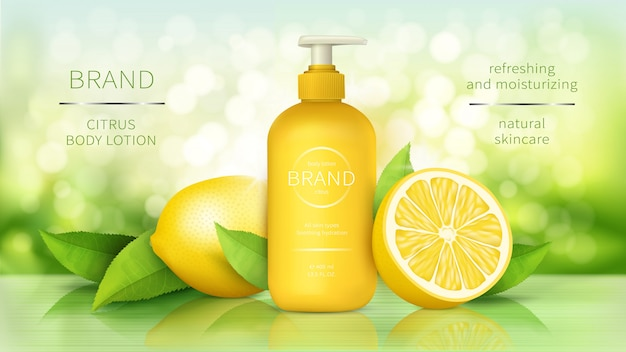Body lotion with lemon, skin care cosmetics realistic ads poster dispenser bottle with organic moisturizer Free Vector