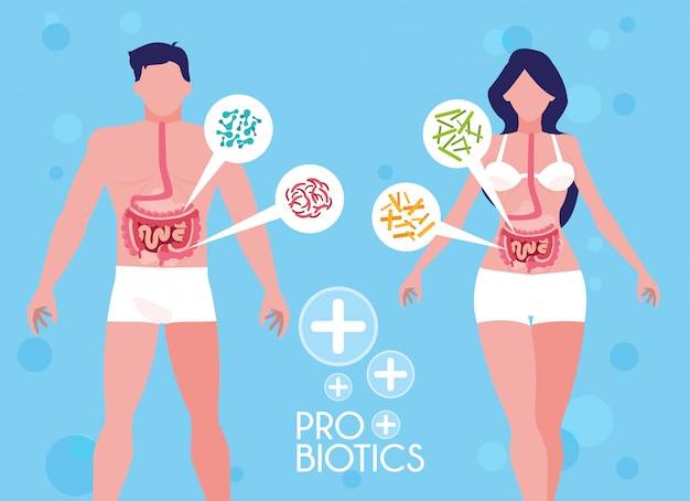 Body of man and woman with probiotics organisms Premium Vector
