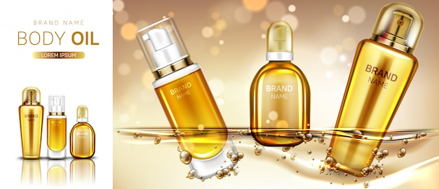 Body oil cosmetics product bottles mockup banner. Free Vector