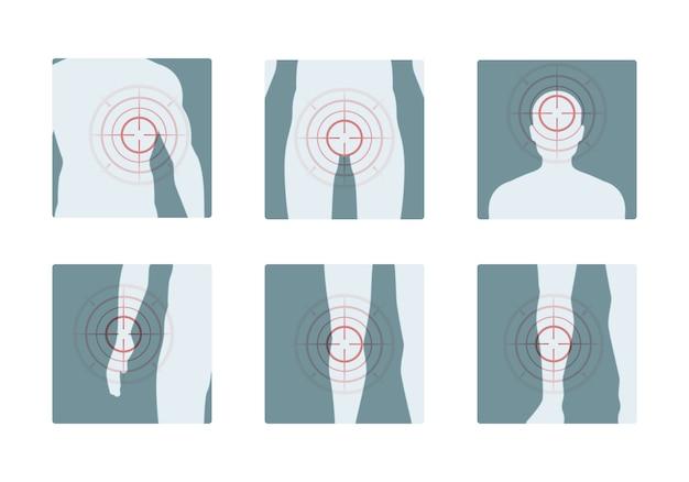 Телесная боль. концентрические красные кольца болезненных частей человеческого тела обезболивающие векторные концептуальные картины Premium векторы