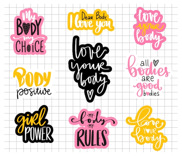 Body positive, feminism sticker collection. love your body, girl power, my body my rules - activists slogan. Premium Vector