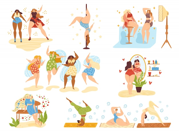 Body positive happy girls, beautiful overweight women plus size  on white  illustrations set. attractive body positive woman dancing, beauty and health caring, do yoga and active sport. Premium Vector