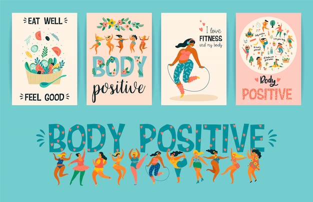 Body positive. happy plus size girls and active healthy lifestyle. Premium Vector