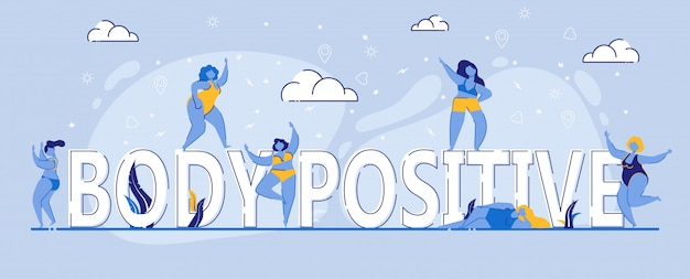 Body positive multiracial and multicultural girls Premium Vector