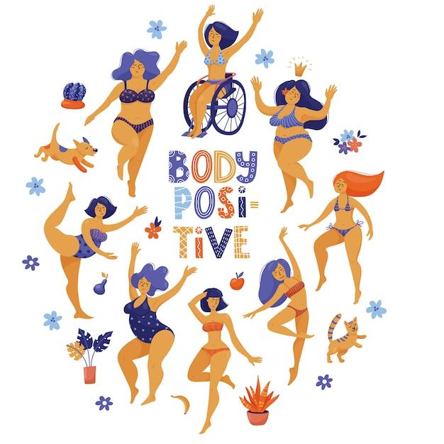 Body positive, self acceptance design with happy slim and plus size women in bikini dancing Premium Vector