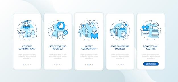 Советы по бодипозитиву: экран страницы мобильного приложения с концепциями Premium векторы