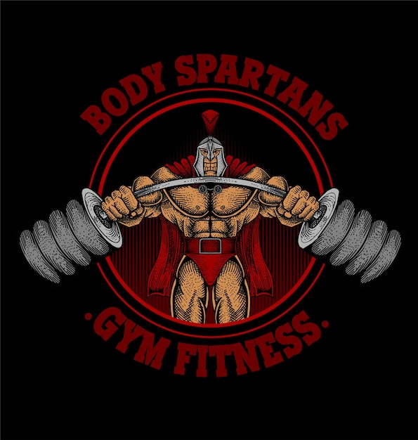 Body Spartan 체육관 로고 프리미엄 벡터