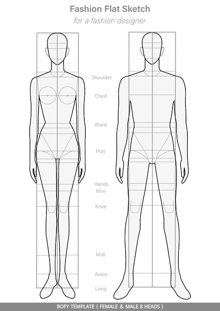 Body Template Fashion Flat Sketches Premium Vector