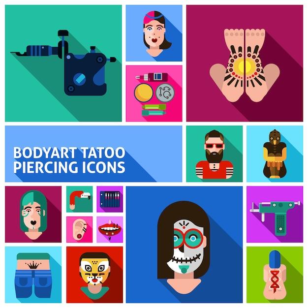 Бодиарт татуировки пирсинг набор изображений Бесплатные векторы