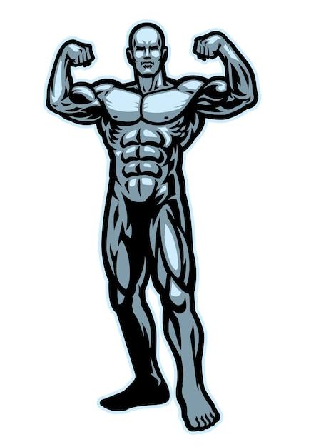 보디 빌딩 근육 Flexing 흰색 절연 포즈 프리미엄 벡터