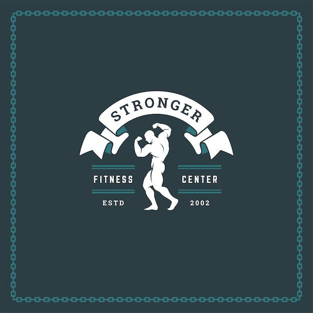 Bodybuilder man silhouette logo Premium Vector