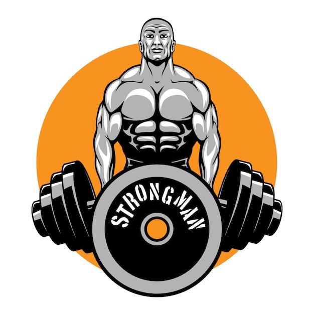 Bodybuilder e logo del fitness club Vettore gratuito