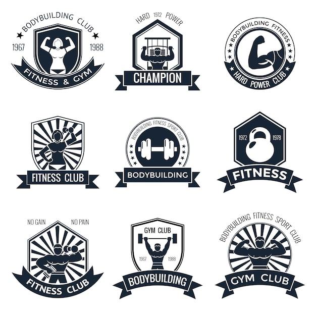 Bodybuilding emblems set Free Vector