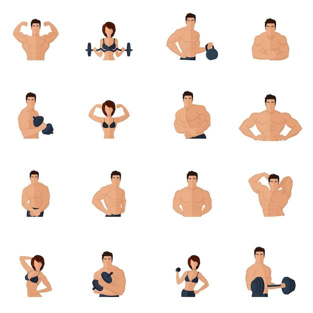 Бодибилдинг фитнес-зал иконки плоский набор с сильными мужчинами и женщинами фигуры подъема железа изолированных векторных иллюстраций Бесплатные векторы