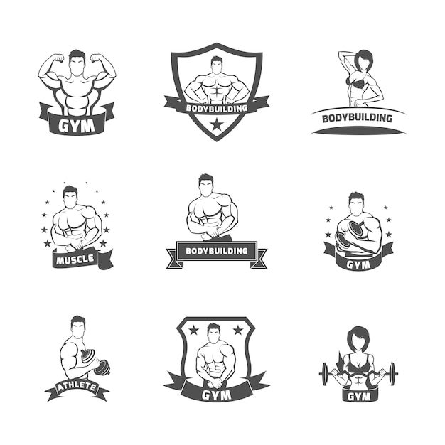 Bodybuilding fitness gym label black Free Vector